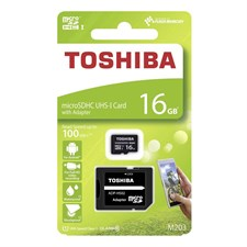 Toshiba M203 High Speed microSDHC UHS-I Card With Adapter, 16GB, Black, THN-M203K0160EA