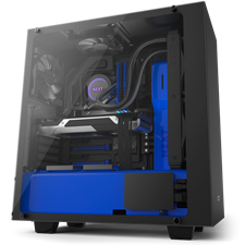 NZXT S340 Elite Black + Blue Tempered Glass Compact ATX Mid-Tower Case