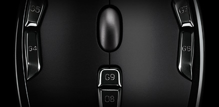 G300s, G9 DPI Loop and G8 profile switch buttons close up