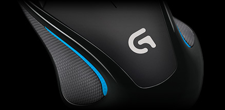 Left angled mouse emphasizing compact shape, comfort and durability